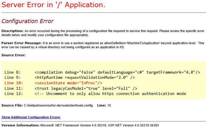 Dynamics NAV Web Client - Server Error in Application