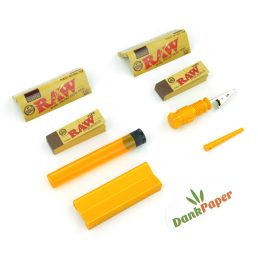 Travel Bundle: Rolling Tray Paper Case, Packing Tool, Cigarette Holder Clip, Doob Tube, Raw Rolling Papers Tips 1/4