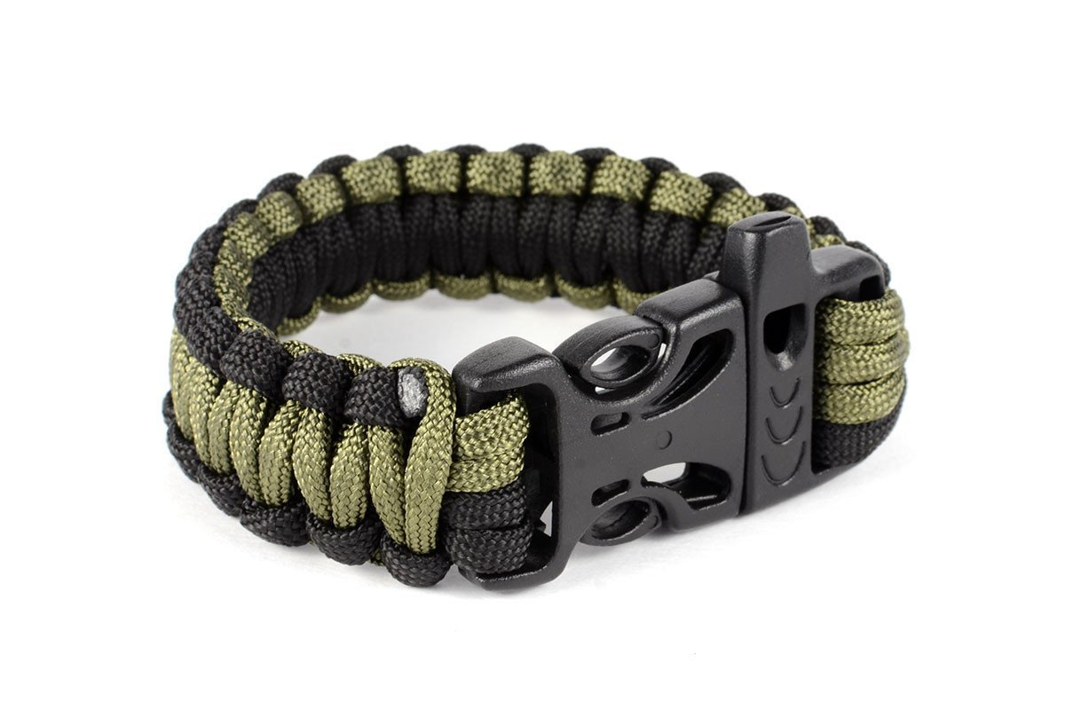 Paracord Tactical Survival Bracelet With Whistle Buckle In Black