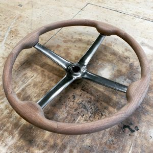 Vintage wooden 4 spoke steering wheel custom made steering wheels made to order wooden steering wheel