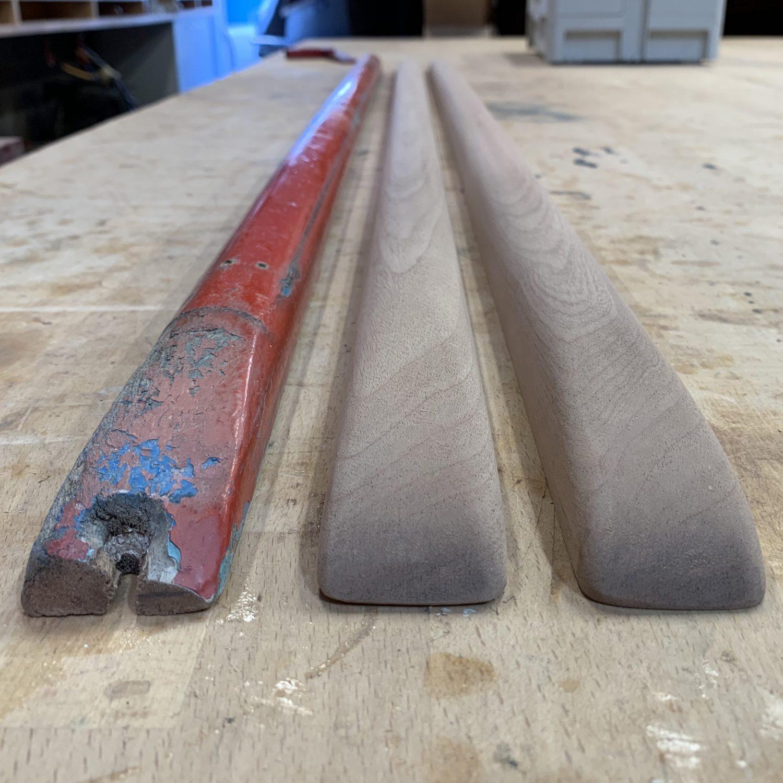 Healey boat mahogany rubbing strip replacement Dan Lee Boatbuilder Services