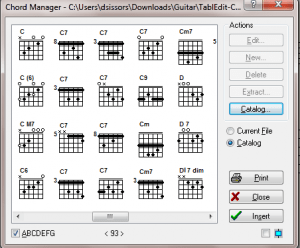 TablEdit: Standard Chord Catalog