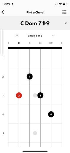C7#9 on Fender iOS app