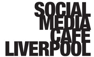 The Social Media Cafe Liverpool logo, some text stacked vertically