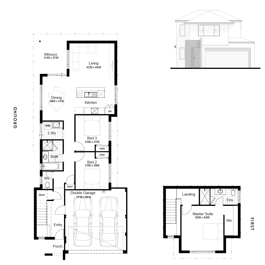 The Newport Narrow Block Home Plan By Danmar Homes