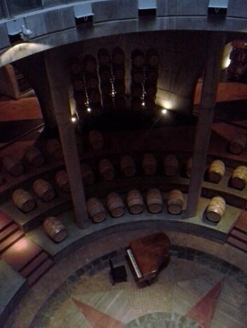 Looking down into the cellar at O´Fournier winery. Twice a year they use this piano for concerts. No photo can convey the size of the cellar.