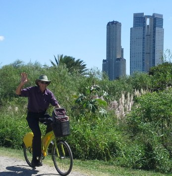 The entire East side of the city is a huge park with only a few roads running through it. We explored it on free yellow bikes.