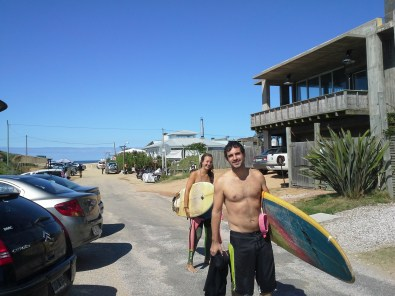 Surfers headed out
