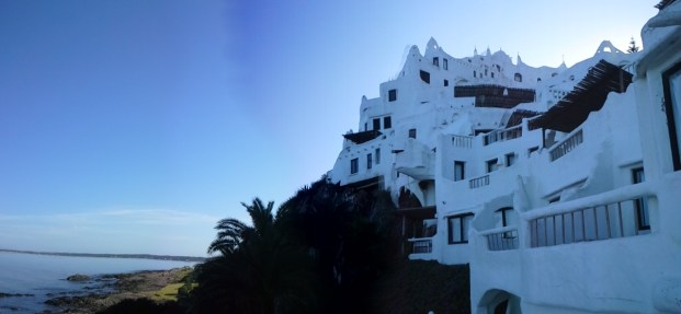 Casa Pueblo at sunset. It is in one of the only locations on South America´s East Coast where the sun sets over the ocean.