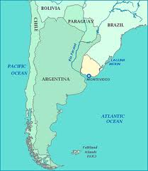 Uruguay is nestled between Argentina and Brazil