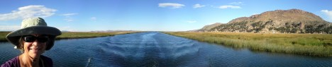 The channel that boats take through the tortura reed to the city of Puno