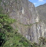 The Inca Bridge is a very narrow trail in the middle of a cliff.