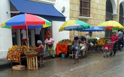 Colorful street scene, Cartagena