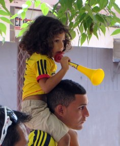 One of the youngest and noisiest people we found cheering for the Columbian soccer team.