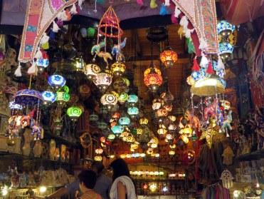 Colorful lamps for sale in Albecin, Granada