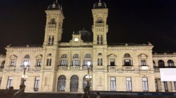 San Sebastian at night during our Camino de Santiago walk