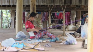 This woman is weaving the weft of the fabric