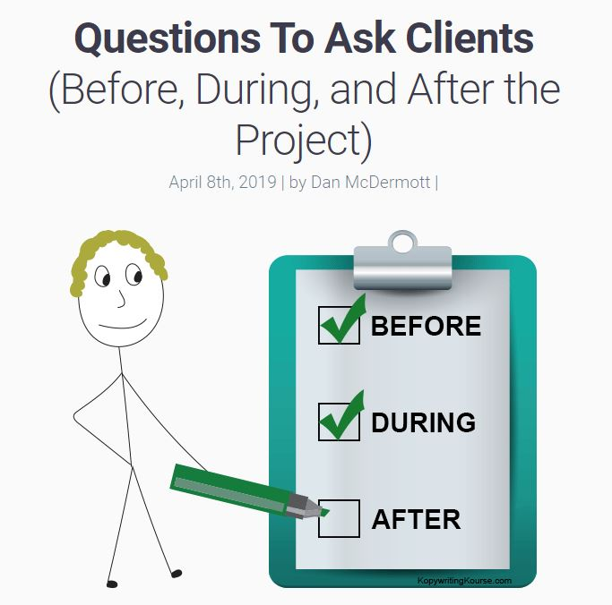 questions to ask clients before during and after the project kopywritingkourse.com