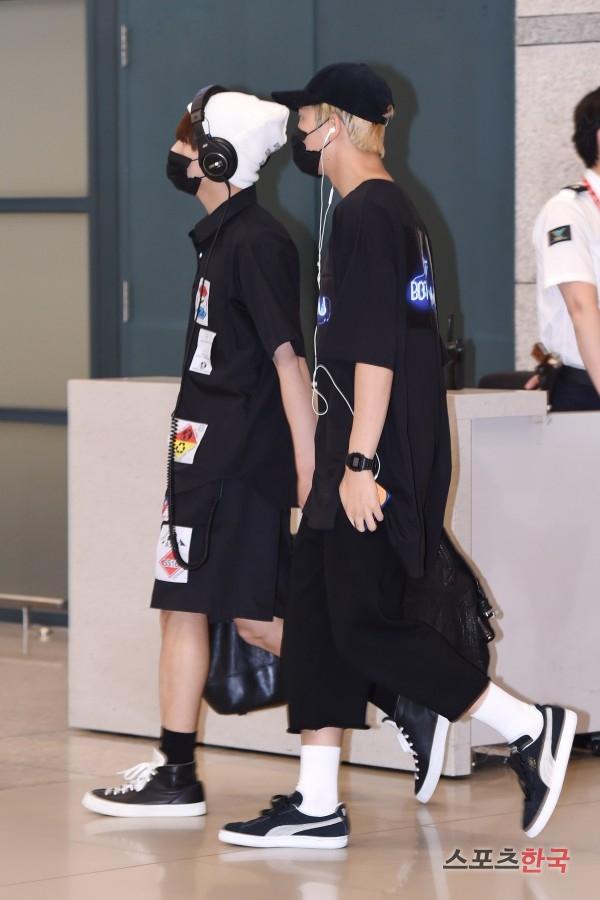 BTS 空港 ファッション SUGAとRM