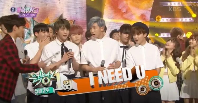 BTSが初めて音楽番組で1位を獲得した名曲『I NEED U』