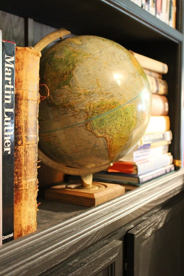 globe; black oak bookshelf