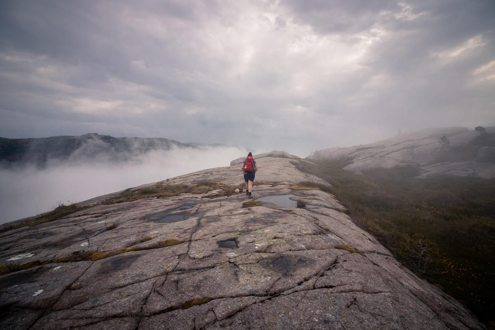 traveling hiking fog