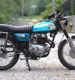 honda cl200 custom cafe racer scrambler bratstyle tracker motorcycle 1974  [ 2400 x 1600 Pixel ]