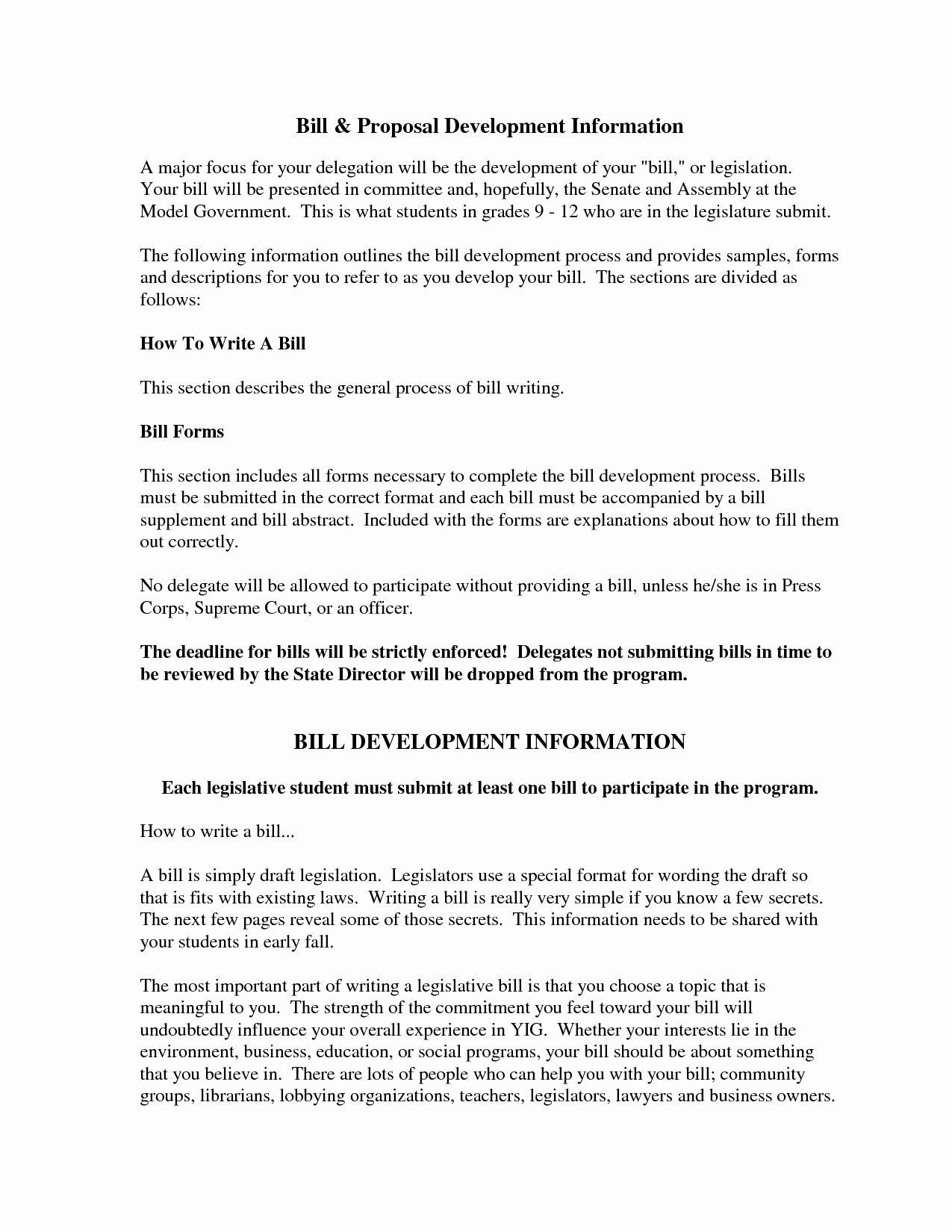 20 Bill Proposal Example