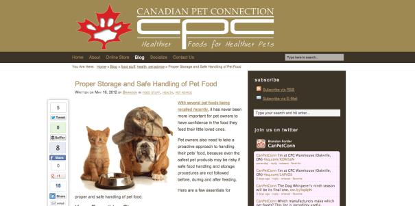 Canadian Pet Connection blog