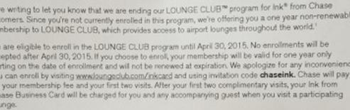 Chase Ink - Lounge Club Membership