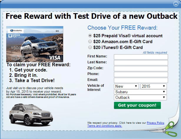 test drive a subaru get a 25 gift card danny the deal guru. Black Bedroom Furniture Sets. Home Design Ideas