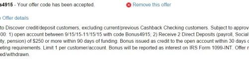 Discover Bank Checking 300
