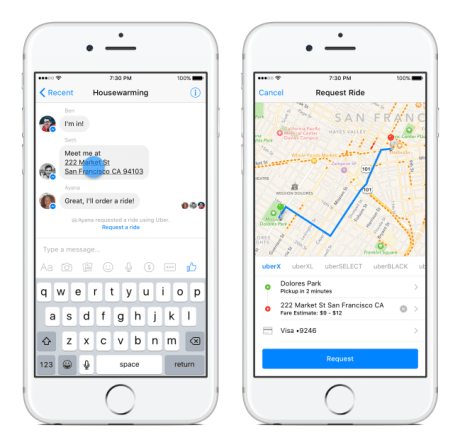 uber facebook messenger