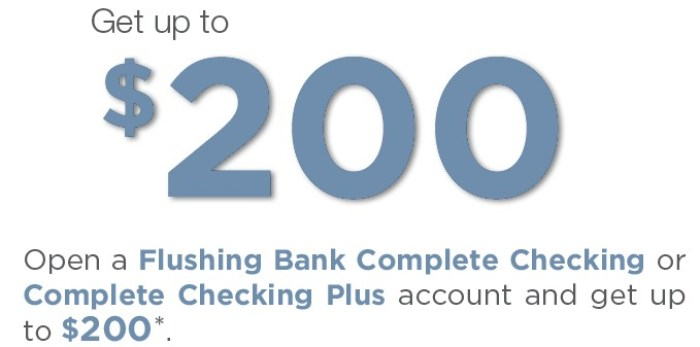 Flushing Bank, $200 Checking Bonus