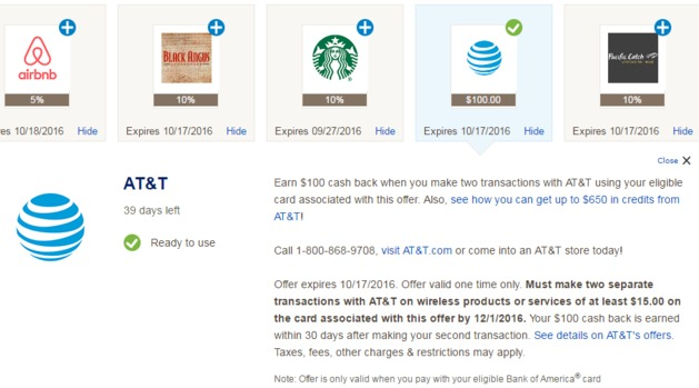 Bank Of America AT&T Offer