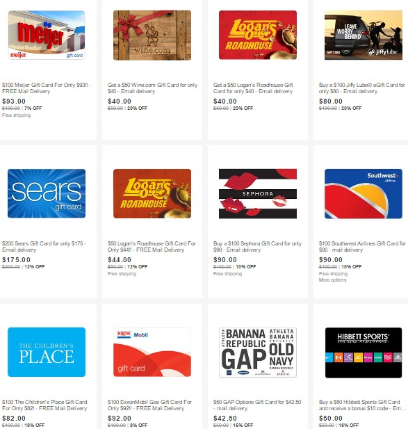 Gift Cards On Sale On Ebay 12 Off Sears 8 Off Gas 10 Southwest 15 Off Gap And More Danny The Deal Guru