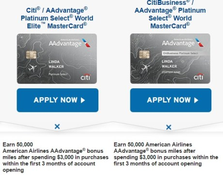 Citi offering 50k aa bonus on personal and business platinum cards compare credit cards credit card comparison citieg colourmoves