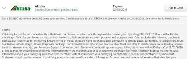 Amex Offers For Travel Alitalia Royal Caribbean La Quinta Danny