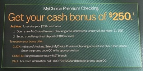 M T Bank  250 checking bonus. Code  QO.jpeg