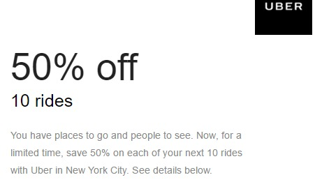 [EXPIRED] Uber Discount, Get 50% Off Next 10 Rides (Targeted)