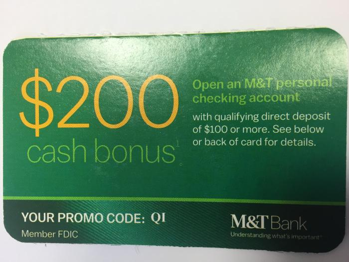M&T Bank, Checking Account Bonus