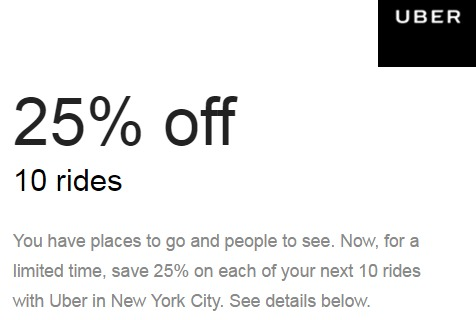 There are 3 Uber promotional codes for you to consider including 2 coupon codes, and 1 sale. Most popular now: $10 Off Your First Uber Ride. Latest offer: $10 Off Your First Uber Ride.