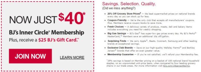 discounted BJ's membership