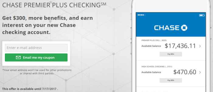 chase checking account bonus