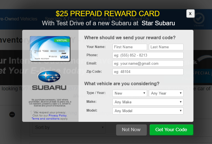 Get $25 Visa Gift Card When You Test Drive A Subaru