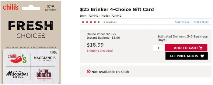 discounted brinker gift cards bj's