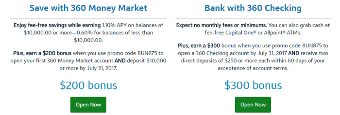 Capital One 360, $500 Bonus For Checking & Money Market