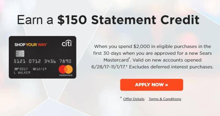 Citi Sears Mastercard bonus 150