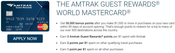 bank of america amtrak card 30K bonus