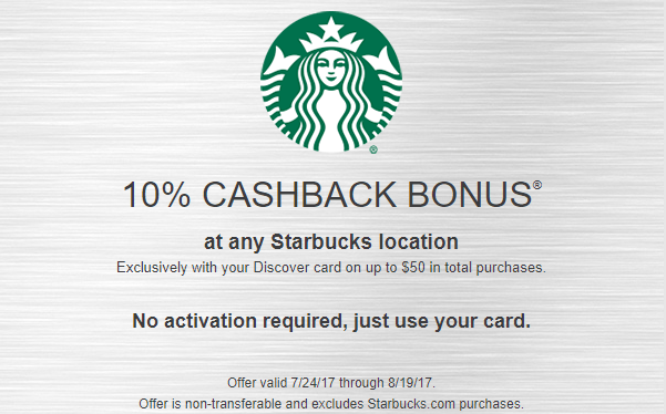 Discover, 10% Cashback At Starbucks On Up To $50 In Total Purchases